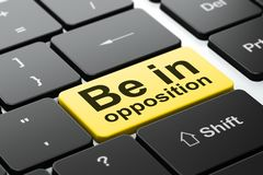 Concept de la politique : Soyez dans l'opposition sur le fond de clavier d'ordinateur illustration libre de droits