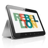 Concept de la politique : Tablette avec la rébellion sur l'affichage Image libre de droits