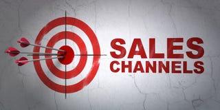 Concept de la publicité : canaux de cible et de ventes sur le fond de mur illustration stock