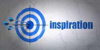 Concept de la publicité : cible et inspiration sur le fond de mur Photo stock