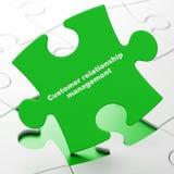 Concept de la publicité : Gestion de relations de client sur le fond de puzzle Photo stock