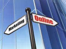 Concept de la publicité : Marketing en ligne sur le fond de bâtiment Photos libres de droits
