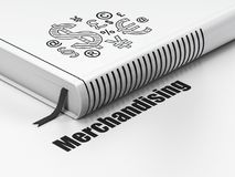 Concept de la publicité : réservez le symbole de finances, vendant sur le fond blanc Image stock