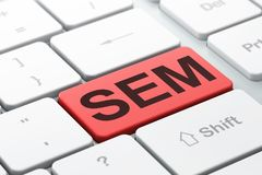 Concept de la publicité : SEM sur le fond de clavier d'ordinateur Photos stock