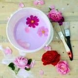 Concept de la rénovation avec la cuvette de couleur, fleurs Photos libres de droits