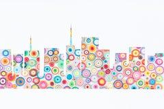 Concept de la résidence des maisons sur le papier coloré fait avec la cannette photos libres de droits