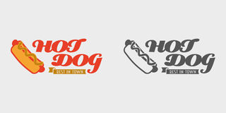 Concept de label de hot-dog Meilleur dans le logo ou l'insigne de vecteur de hot-dog de ville Photos stock