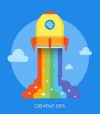 Concept de lancement de fusée d'espace Illustration de vecteur dans la conception plate de style Nouveau démarrage de projet d'af illustration stock