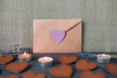 Concept de lettre d'amour de Valentine Day, foyer sélectif Photos stock