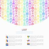 Concept de LGBT avec la ligne mince icônes : gai, lesbien, arc-en-ciel, sortant, amour libre, drapeau, appui, homophobie d'arrêt, illustration stock