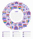 Concept de LGBT en cercle avec la ligne mince icônes : gai, lesbien, arc-en-ciel, sortant, l'amour libre, drapeau, appui, arrêten illustration libre de droits