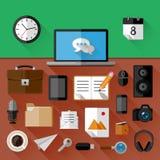 Concept de lieu de travail Icônes plates Photo stock