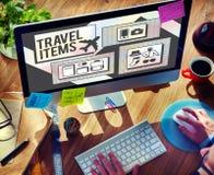 Concept de liste de préparation d'accessoires d'articles de voyage Photos stock