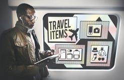 Concept de liste de préparation d'accessoires d'articles de voyage Images libres de droits