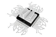 Concept de livre de Digital Livre au-dessus des puces avec le circuit Images stock