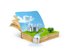 Concept de livre magique couvert d'herbe Images libres de droits