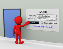 concept de login de mot de passe de l'homme 3d Photographie stock