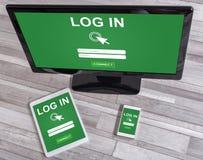Concept de login sur différents dispositifs image libre de droits