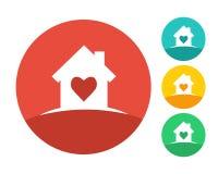 Concept de logo de Chambre et de coeur Images stock