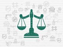 Concept de loi : Échelles sur le fond de mur illustration libre de droits