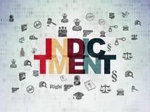 Concept de loi : Acte d'accusation sur le fond de papier de données numériques illustration libre de droits