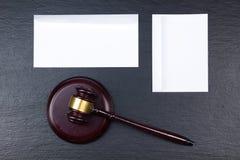 Concept de LOI Carte de visite professionnelle de visite Maquette réglée de papeterie d'entreprise Éléments texturisés vides d'id Photo stock