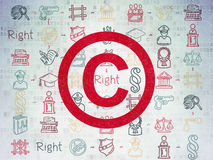 Concept de loi : Copyright sur le fond de papier de Digital Image libre de droits