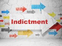 Concept de loi : flèche avec l'acte d'accusation sur le fond grunge de mur illustration libre de droits