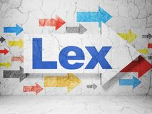 Concept de loi : flèche avec Lex sur le fond grunge de mur Photos libres de droits
