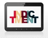 Concept de loi : Ordinateur de PC de Tablette avec l'acte d'accusation sur l'affichage illustration de vecteur