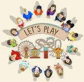 Concept de loisirs de bonheur de divertissement d'activité de jeu Image stock