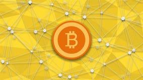Concept de longueur de bitcoin, de crédit de restructuration et de fond polygonal de rotation vidéo 4K illustration de vecteur