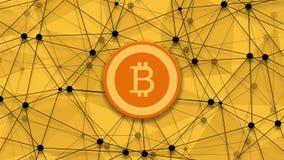 Concept de longueur de bitcoin, de crédit de restructuration et de fond polygonal de rotation vidéo 4K illustration libre de droits