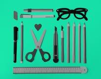 Concept de lunettes de règle de Pen Color Pencil Scissor Eraser Photo stock