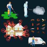 Concept de lutte contre les parasites avec l'illustration plate de vecteur de silhouette d'exterminateur d'insectes Image stock