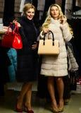 Concept de luxe et de mode Filles avec les visages de sourire Images stock