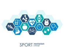 Concept de mécanisme de sport Le football, basket-ball, volleyball, concepts de boule Fond abstrait avec les objets reliés Photographie stock
