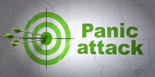 Concept de médecine : attaque de cible et de panique sur le fond de mur Images stock
