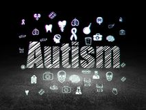 Concept de médecine : Autisme dans la chambre noire grunge Photographie stock libre de droits