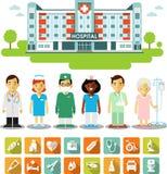 Concept de médecine avec des personnes, des icônes et le bâtiment d'hôpital Photos stock