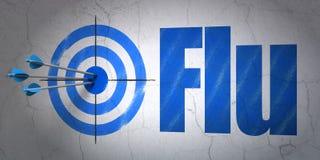 Concept de médecine : cible et grippe sur le fond de mur Images stock
