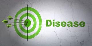 Concept de médecine : cible et maladie sur le fond de mur Images libres de droits