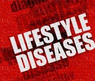 Concept de médecine : Les maladies de mode de vie sur le mur de briques rouge Image libre de droits