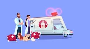 Concept de médecine vétérinaire de voiture d'ambulance de Doctors Standing At de vétérinaire illustration stock