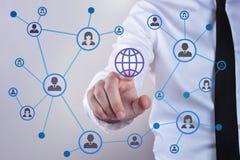 Concept de médias sociaux et de réseau global photographie stock libre de droits