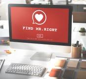 Concept de M. Right One Valentine Romance Love Heart Dating de découverte Image libre de droits