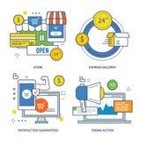Concept de magasin, la livraison express, satisfaction garantie, action de promo illustration stock