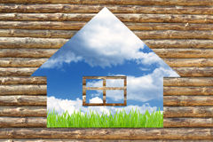 Concept de maison écologique en bois Photos stock