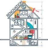 Concept de maison transformant infographic Vecteur Images libres de droits