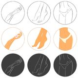 Concept de manucure, de pédicurie et de bodycare Ensemble d'icône Photographie stock libre de droits